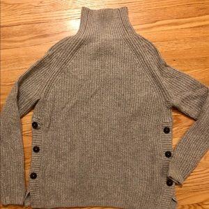 Grey Knit Button Turtleneck